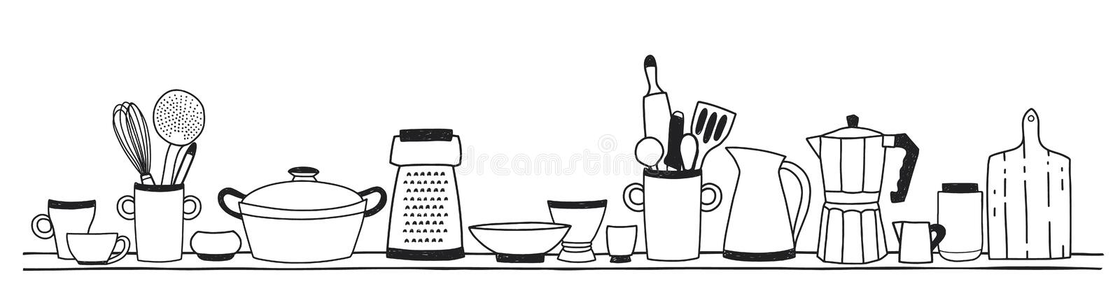 Home kitchen utensils for cooking, tools for food preparation or cookware standing on shelf hand drawn with black stock illustration