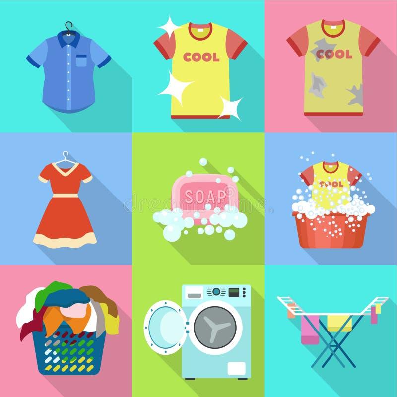 Home laundry icon set, flat style. Home laundry icon set. Flat set of 9 home laundry vector icons for web design isolated on white background vector illustration