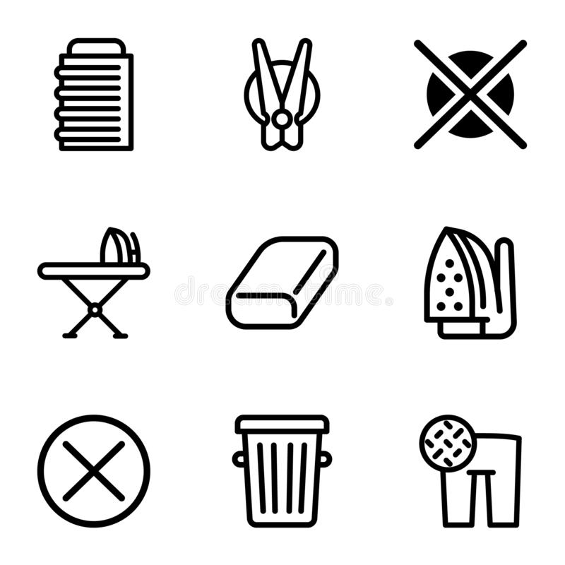 Home laundry icon set, outline style. Home laundry icon set. Outline set of 9 home laundry vector icons for web design isolated on white background stock illustration