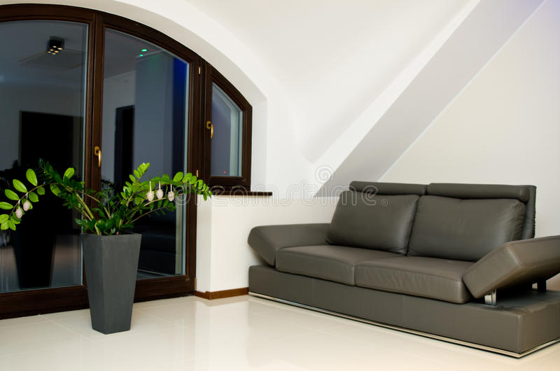 Home leather sofa royalty free stock photography