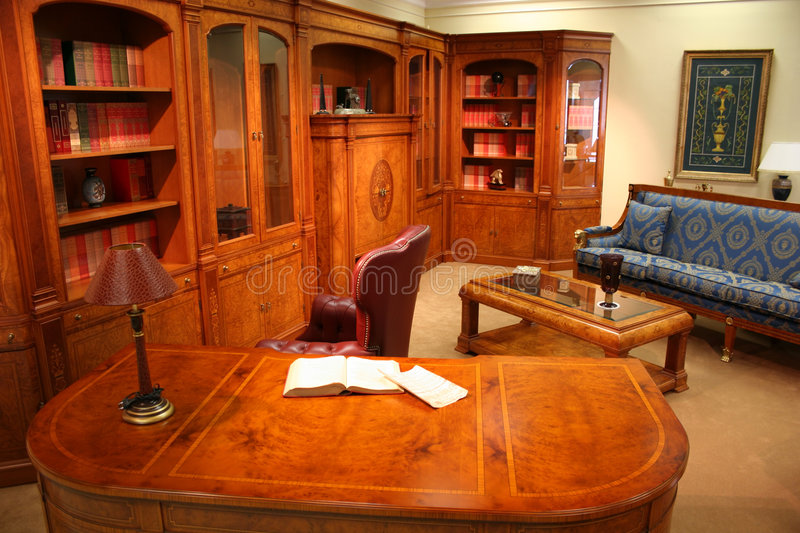 Home library. Table royalty free stock photos