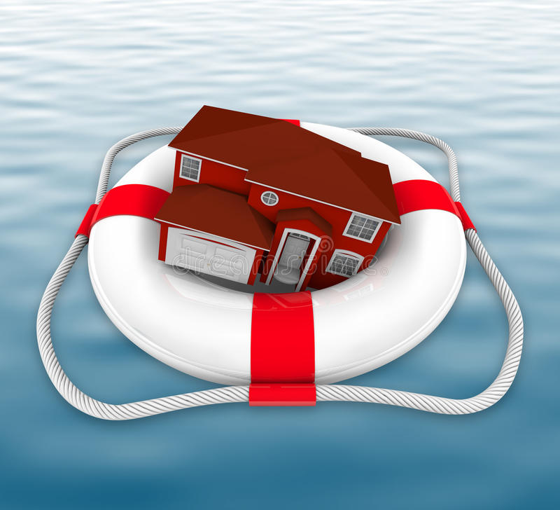 Download Home In Life Preserver On Water Stock Illustration - Image: 14860276