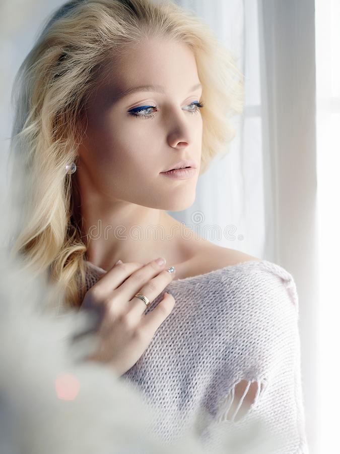 Free Home Lifestyle Girl Looking In Window Stock Images - 106583004