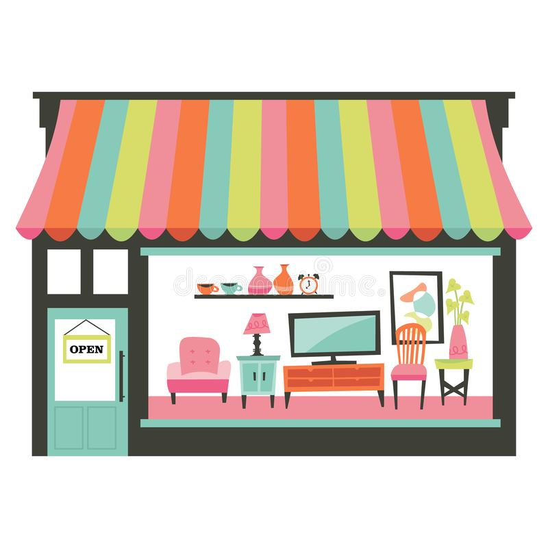 Home Living Furniture Shopfront. A chic vector illustration of a home living furniture shopfront with a large window display showcasing various furniture such as royalty free illustration
