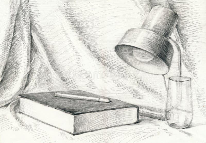 HOME, livro, lâmpada, drapery ilustração stock