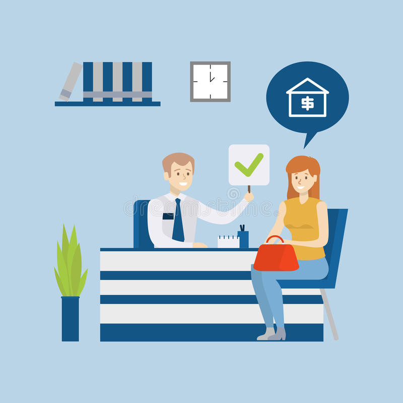 Home loan in bank. stock illustration
