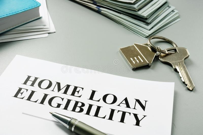 Home loan eligibility documents on desk stock images