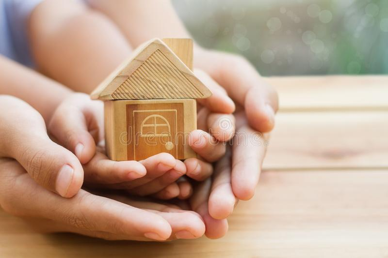 Home loan, home insurance, family life assurance protection, financial mortgage for house building, stock image