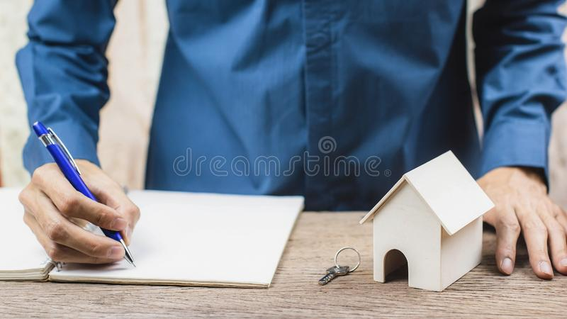 Home loan, Reverse mortgage concept. Estate agent sign the certification contract stock photos