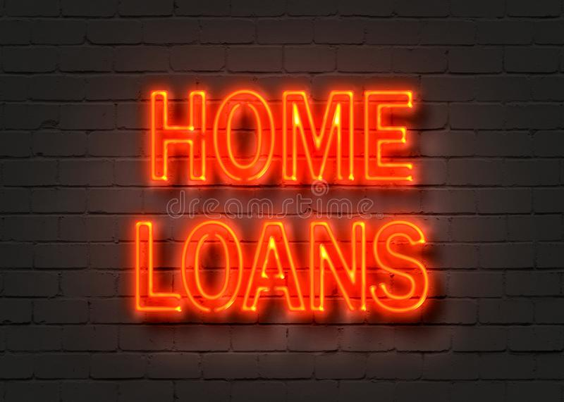 Home loans, neon sign on brick wall royalty free illustration