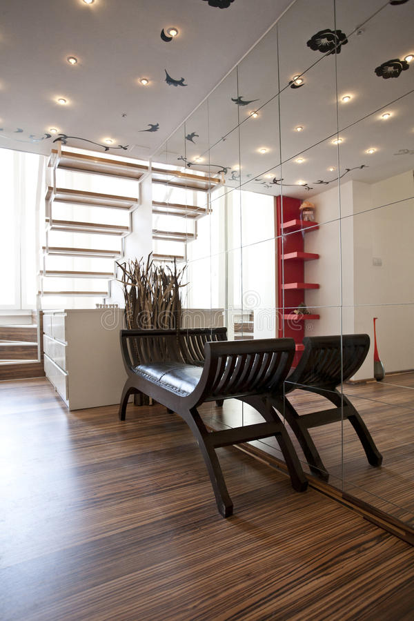 Home lobby interior design. Modern homes royalty free stock photos