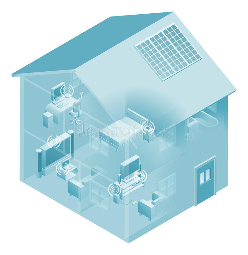 Home Local Area Network House. Local area network with devices like phones, games consoles, pc desktop computer, laptop, and tv connected in a network, wired and royalty free illustration