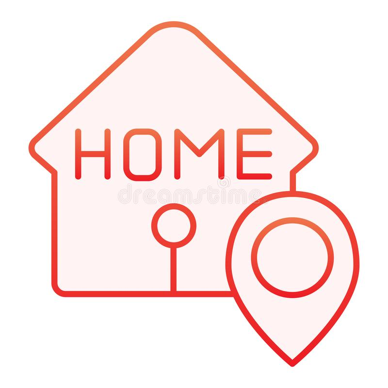 Home location flat icon. House with map pin red icons in trendy flat style. Navigation gradient style design, designed royalty free illustration