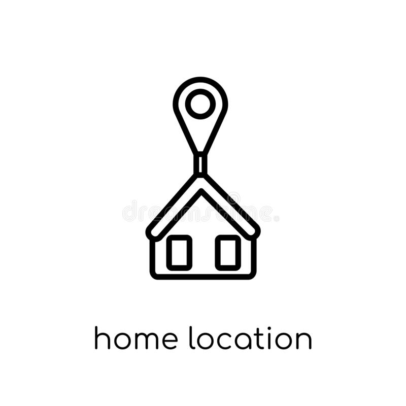 Home Location icon. Trendy modern flat linear vector Home Location icon on white background from thin line Maps and Locations col stock illustration