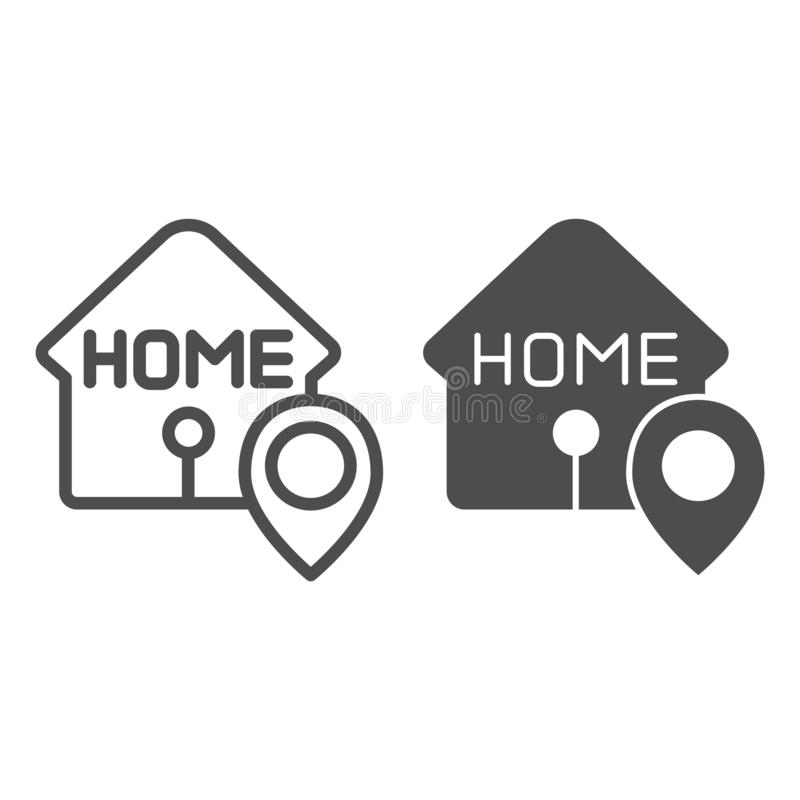 Home location line and glyph icon. House with map pin vector illustration isolated on white. Navigation outline style royalty free illustration