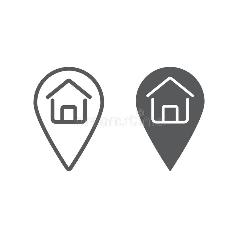 Home location line and glyph icon, real estate. And home, pin pointer sign vector graphics, a linear pattern on a white background, eps 10 royalty free illustration
