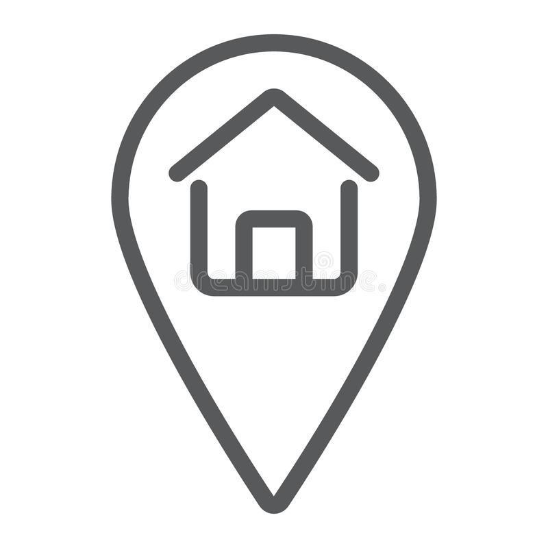Home location line icon, real estate and home stock illustration