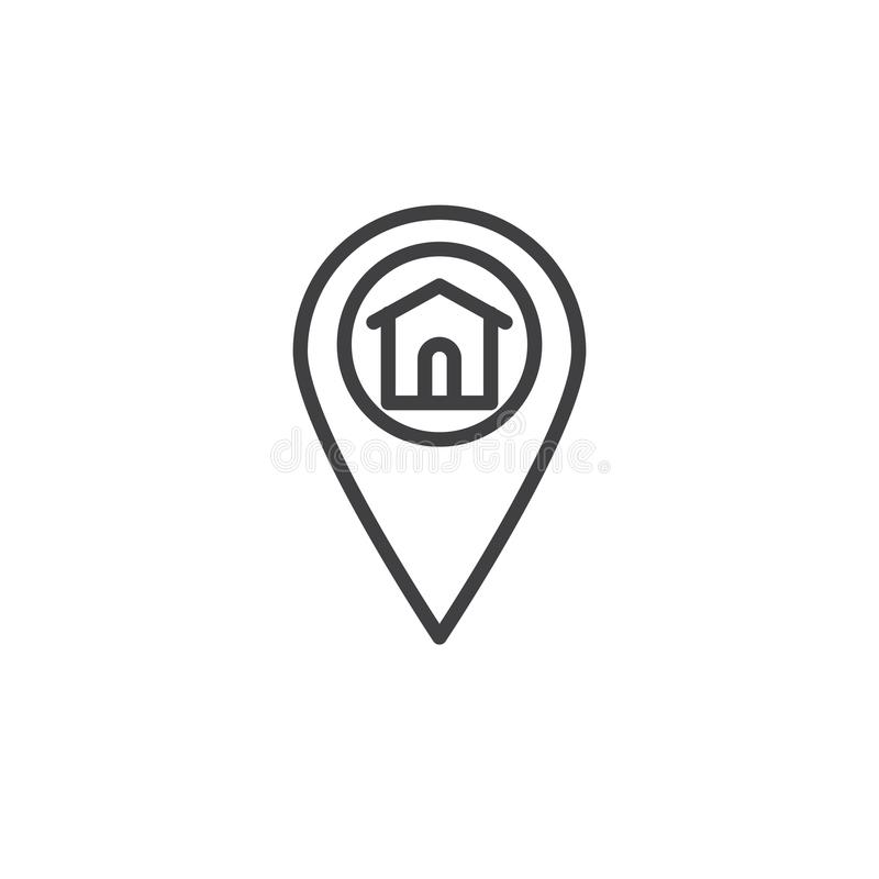 Home location marker line icon. Outline vector sign, linear style pictogram isolated on white. Map direction house symbol, logo illustration. Editable stroke vector illustration