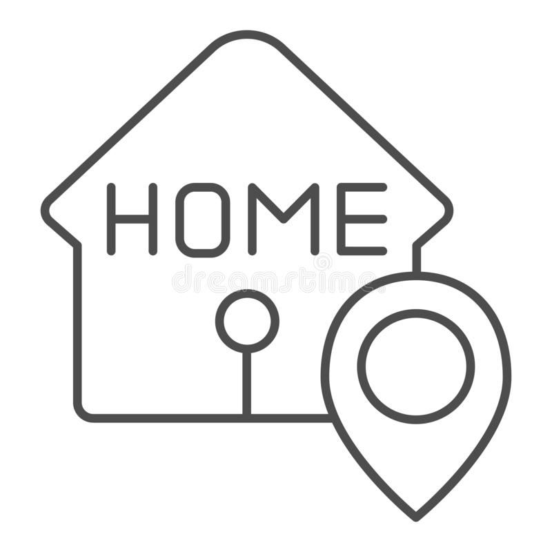 Home location thin line icon. House with map pin vector illustration isolated on white. Navigation outline style design vector illustration