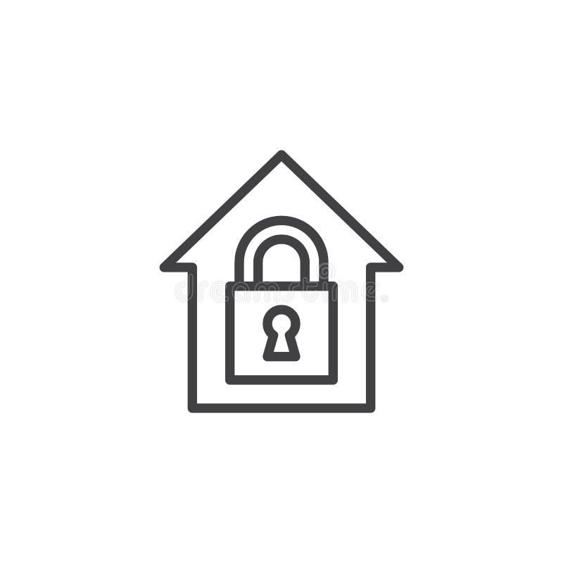 Home lock outline icon stock illustration