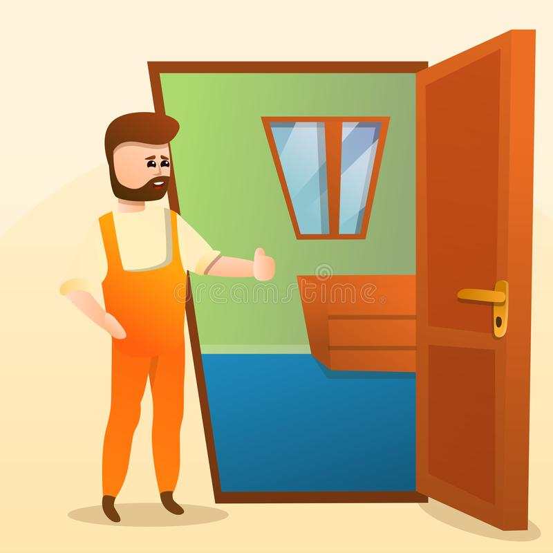 Home locksmith concept background, cartoon style royalty free illustration