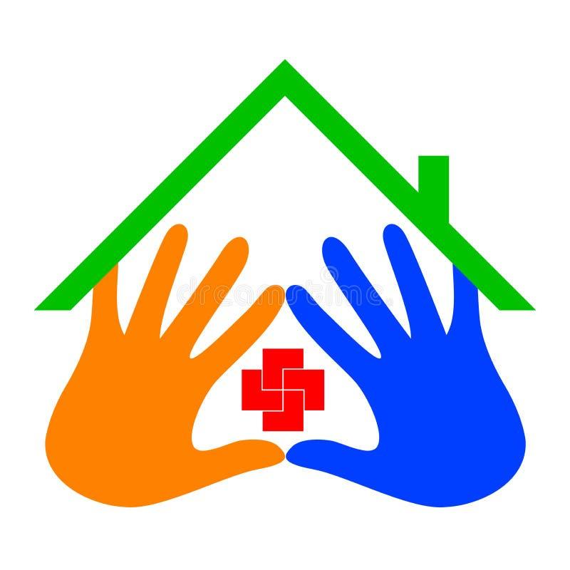 home logo för omsorg royaltyfri illustrationer
