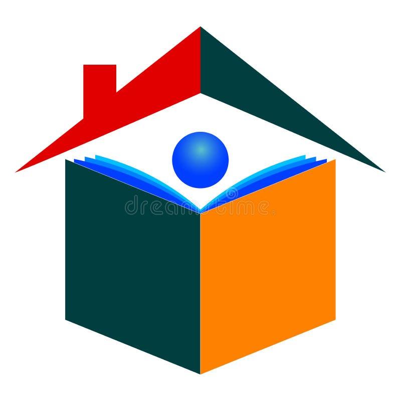 home logo för utbildning royaltyfri illustrationer