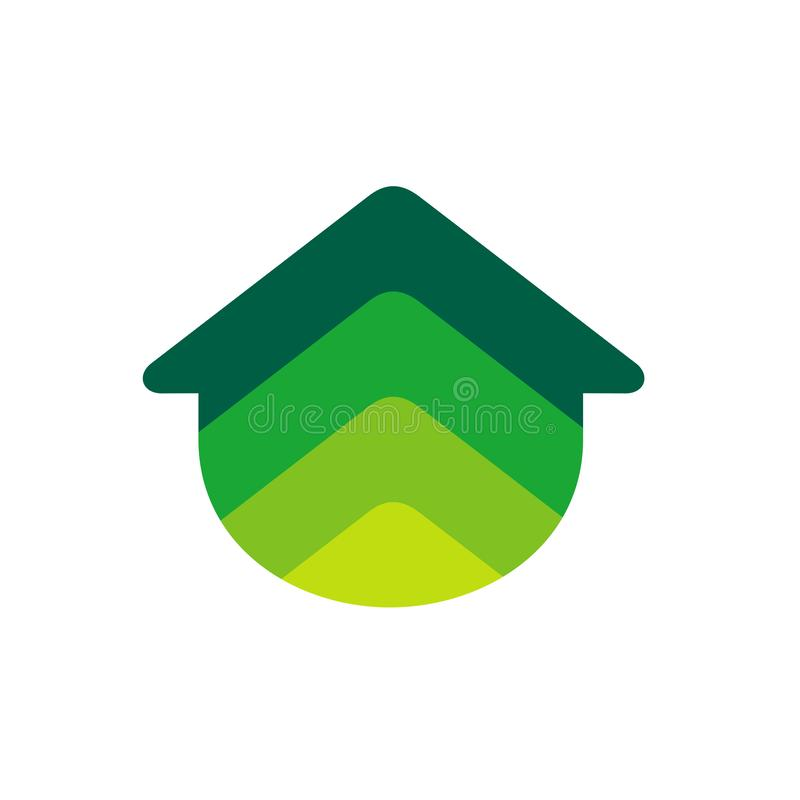 Home Logo Icon. Real Estate Logo in Colorful Gradient Design Concept. Green Color Vector Illustration stock illustration