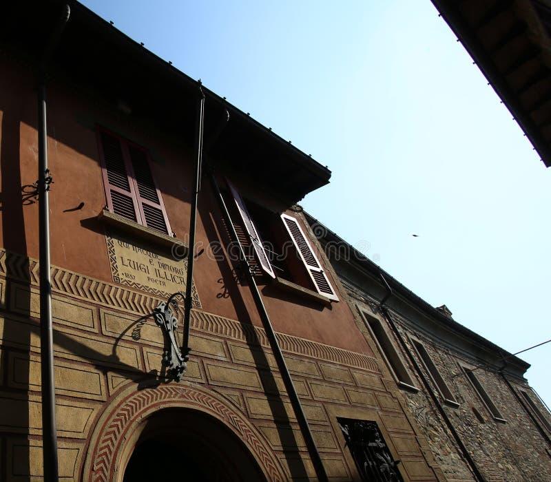 Home of Luigi Illica. Castell Arquato, Italy - October 14, 2018: home of Luigi Illica, poet lived between 1857 and 1919 stock images
