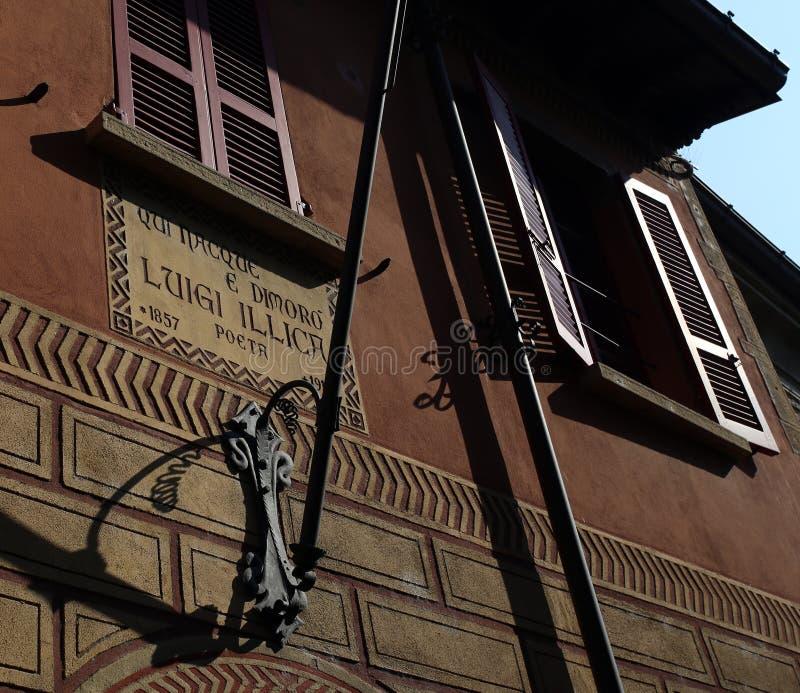 Home of Luigi Illica. Castell Arquato, Italy - October 14, 2018: home of Luigi Illica, poet lived between 1857 and 1919 royalty free stock image