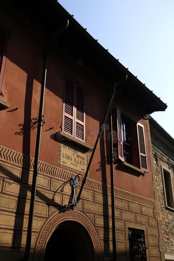 Home of Luigi Illica. Castell Arquato, Italy - October 14, 2018: home of Luigi Illica, poet lived between 1857 and 1919 stock image