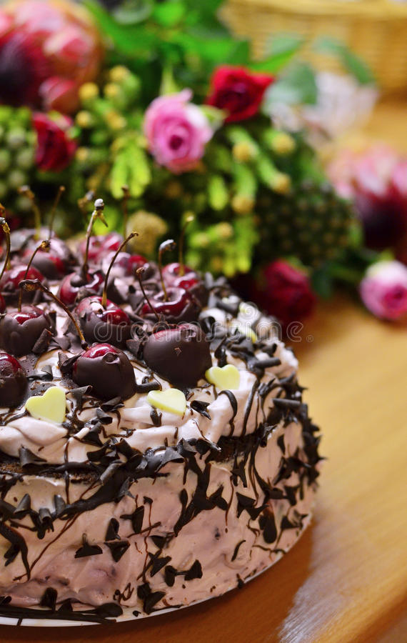 Home-made Black Forrest cake stock photo