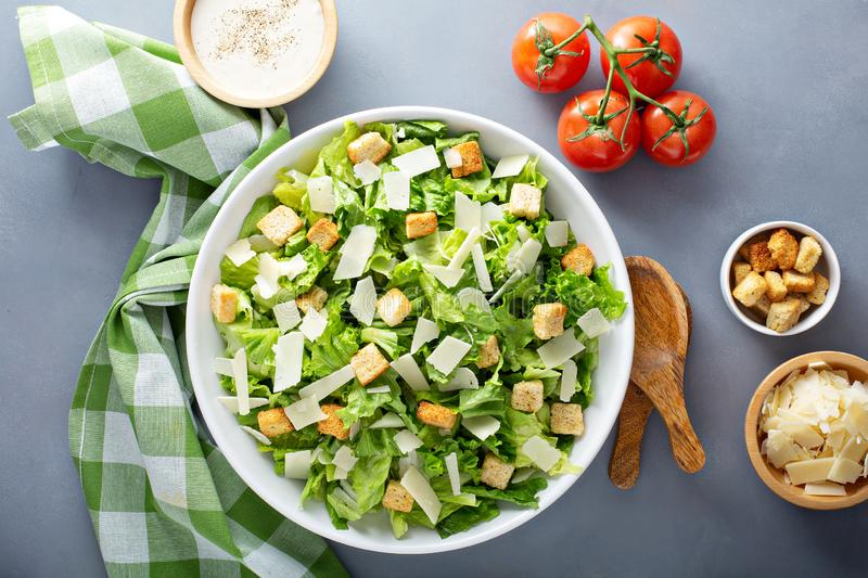 Home made caesar salad. Homemade caesar salad with dressing on the side royalty free stock photography