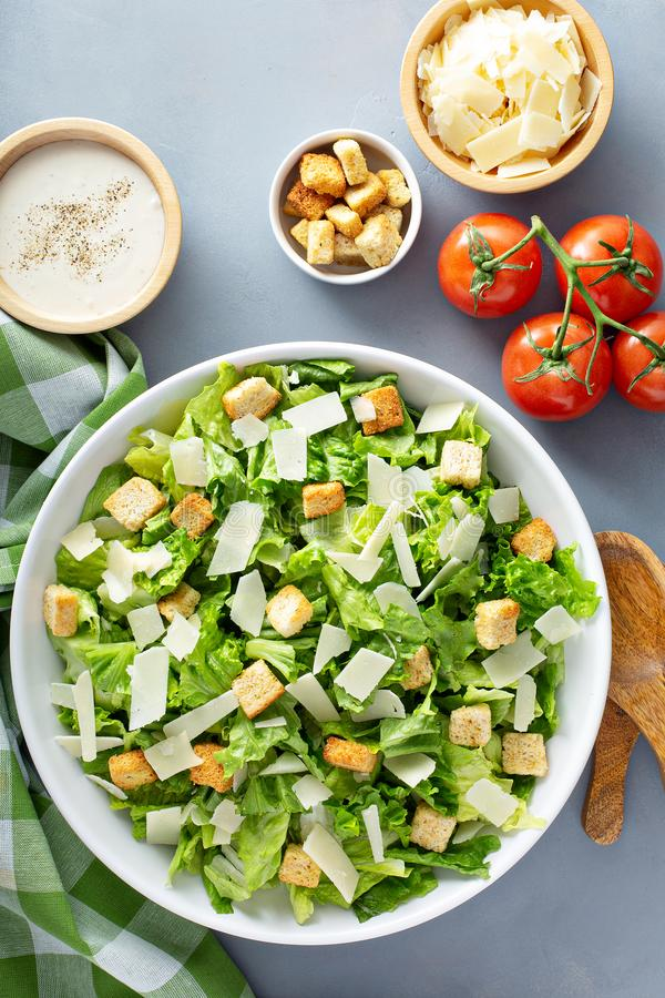 Home made caesar salad. Homemade caesar salad with dressing on the side royalty free stock photo