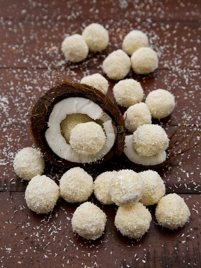Home made candies with coconut stock photography