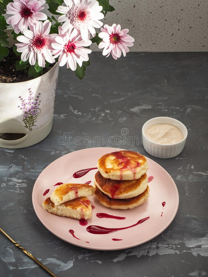 Home-made cheese cakes and ice-cream bowl with sour cream and ginger syrup, in the background a pot with a pink chrysanthemum. Flower on a gray background with royalty free stock image