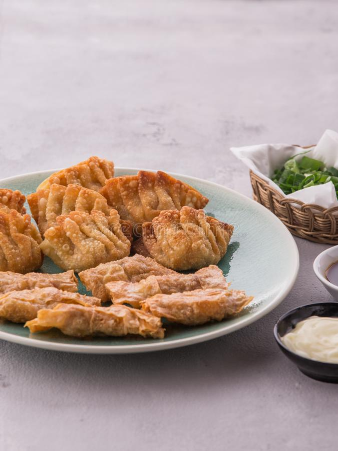Home made chinese and korean fried chicken dumplings stock photo