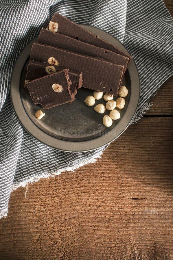 Home made chocolate bars with Hazelnut royalty free stock photo