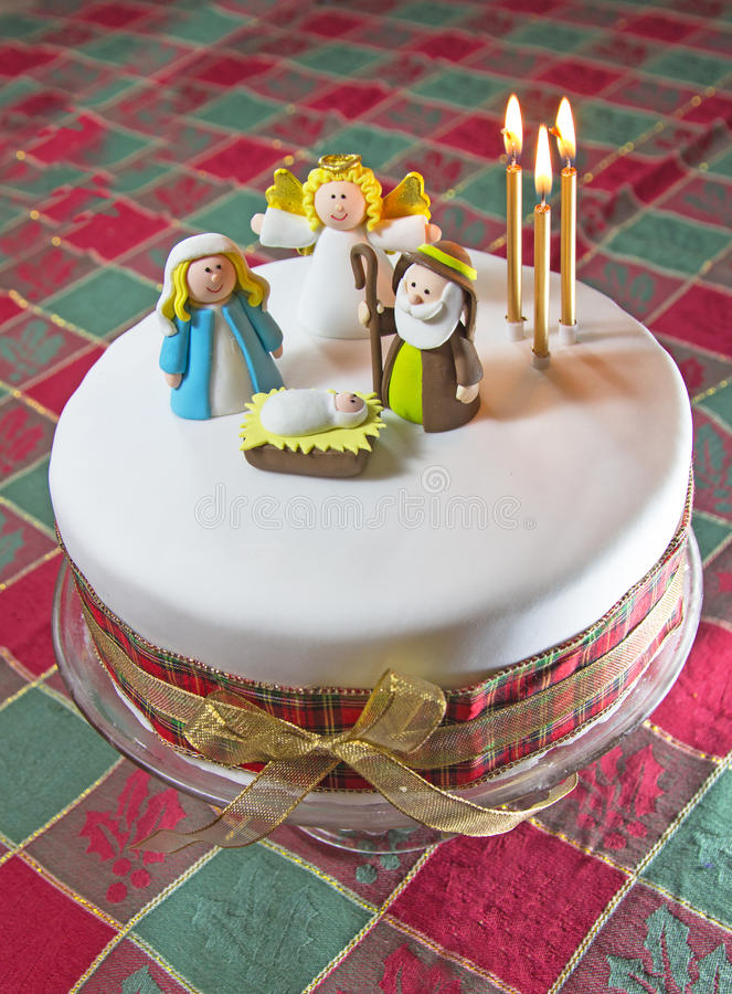 Home made Christmas cake royalty free stock photos