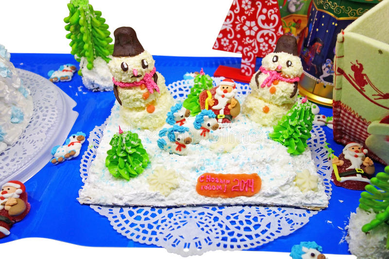 Home-made Christmas cake. With a winter theme royalty free stock image