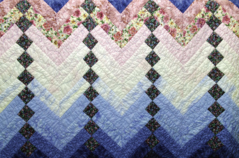 Download Home Made Country Quilt In Blue And Pink Patchwork Stock Photo - Image: 25493578