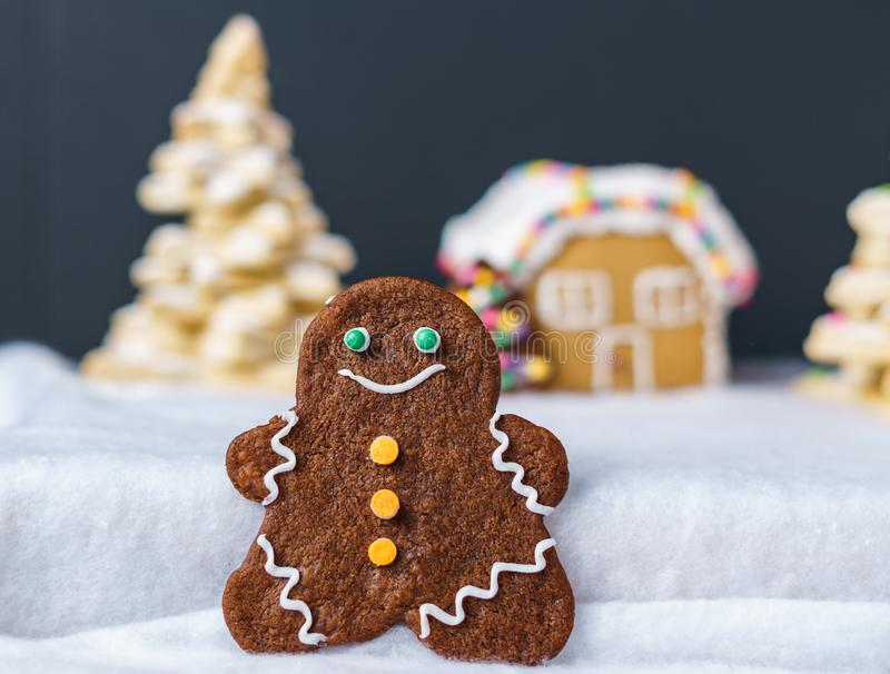 Home made delicious traditional gingerbread village and gingerbread man family black background. Home made delicious traditional gingerbread village and royalty free stock image