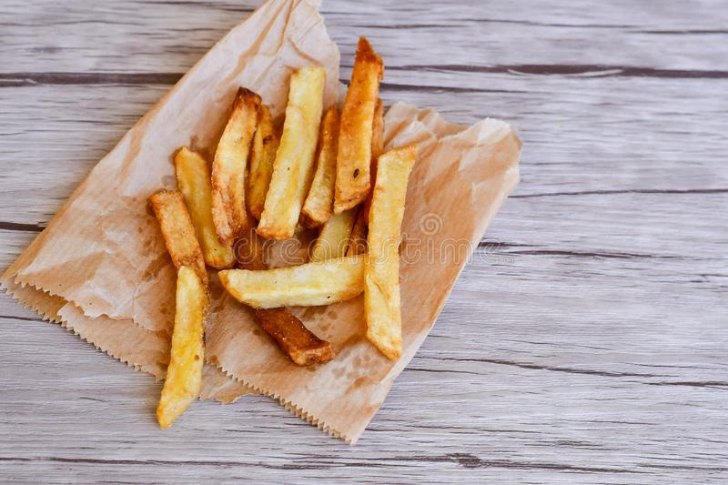 French fries. Home made French fries from bio organic potatoes stock images