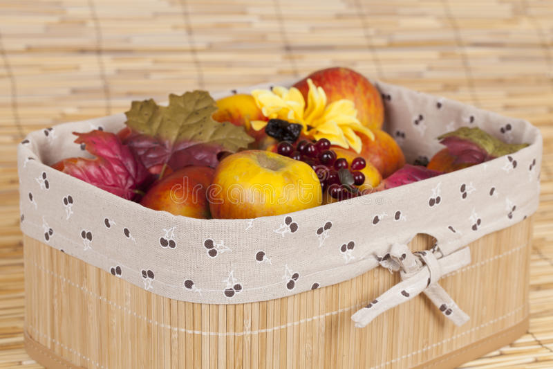 Home made fruits in a case stock photos