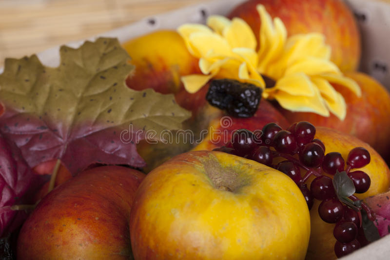 Home made fruits in a case macro stock photography