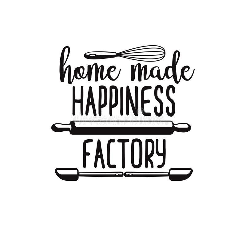 home made happiness factory fun cute baking quote printable vector design vector illustration