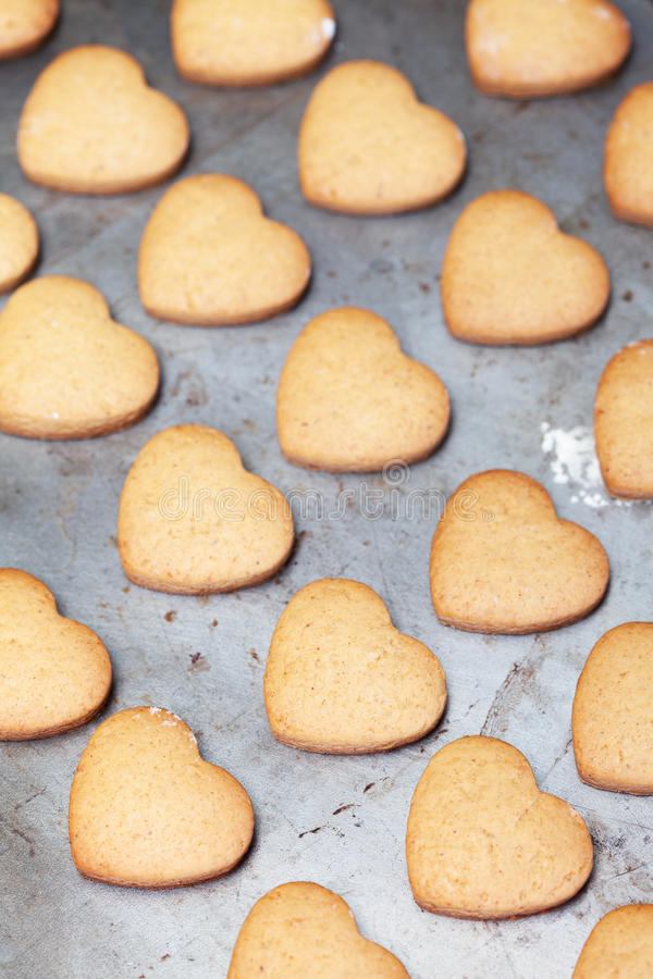 Home Made Heart Shaped Cookies On Baking Tray Stock Photo