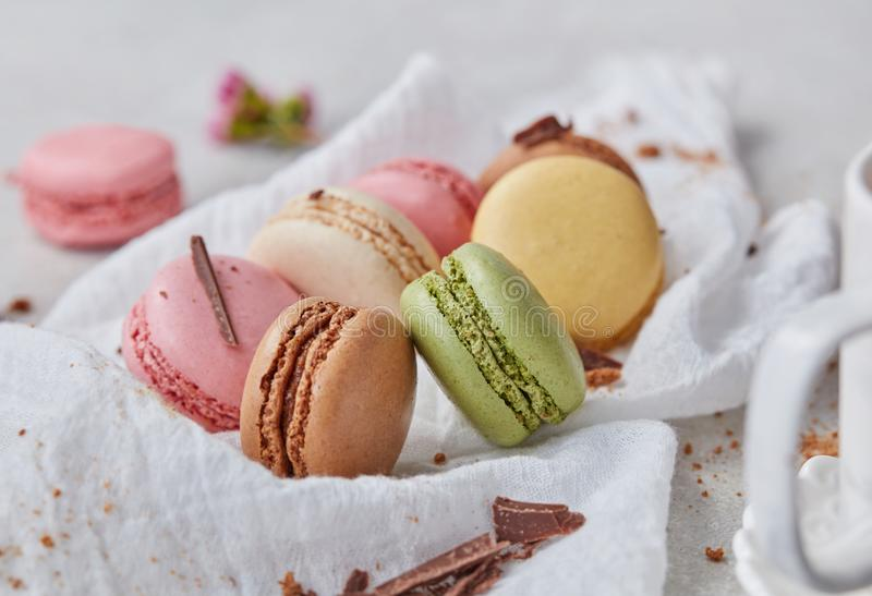 Home made macaroons close-up royalty free stock photo