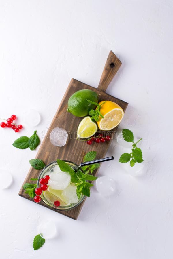 Home made mojito cocktail with lemon, lime, mint leaves, with ice and red currant . royalty free stock images