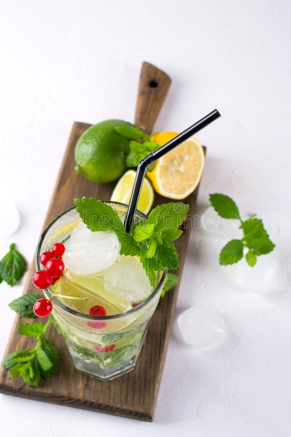 Home made mojito cocktail with lemon, lime, mint leaves, with ice and red currant . Summer drink stock images
